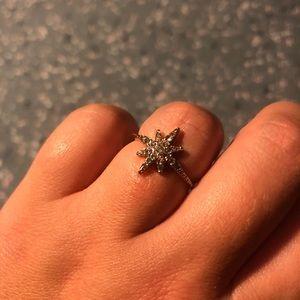 Star snowflake gold stacking ring